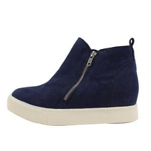 Shoes - Navy Faux Suede Hidden Wedge Rubber Sole Sneaker